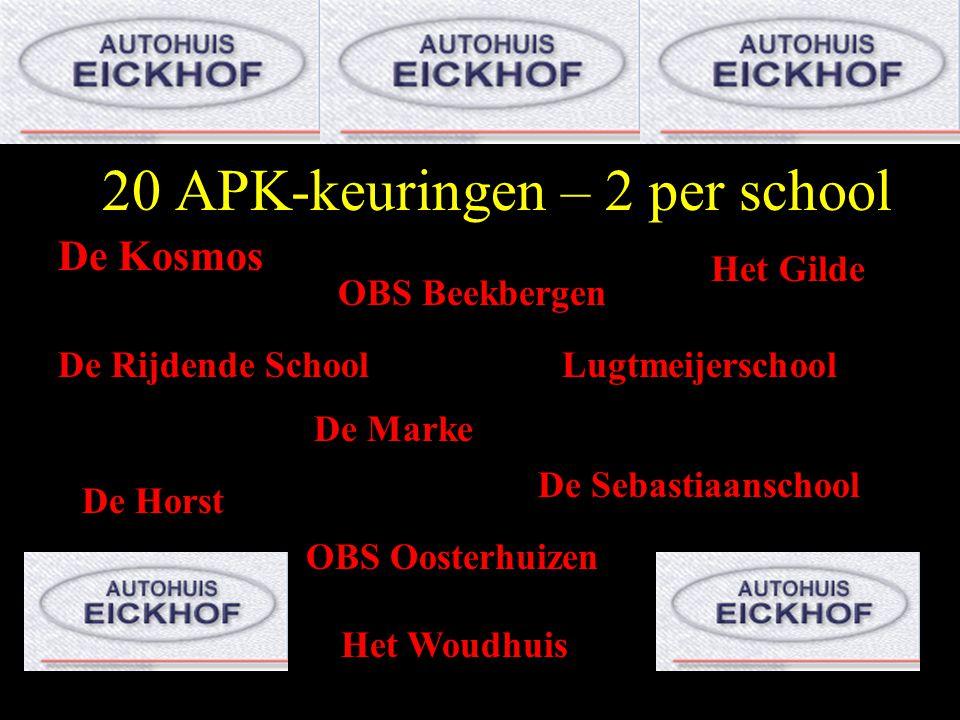 20 APK-keuringen – 2 per school De Kosmos OBS Beekbergen Het Gilde De Rijdende SchoolLugtmeijerschool De Marke De Sebastiaanschool De Horst OBS Ooster