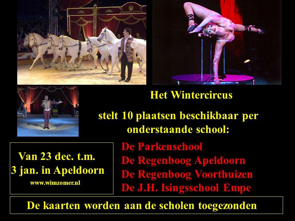 Het Wintercircus stelt 10 plaatsen beschikbaar per onderstaande school: De Parkenschool De Regenboog Apeldoorn De Regenboog Voorthuizen De J.H. Isings