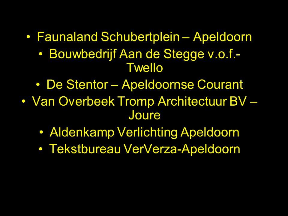 Faunaland Schubertplein – Apeldoorn Bouwbedrijf Aan de Stegge v.o.f.- Twello De Stentor – Apeldoornse Courant Van Overbeek Tromp Architectuur BV – Jou