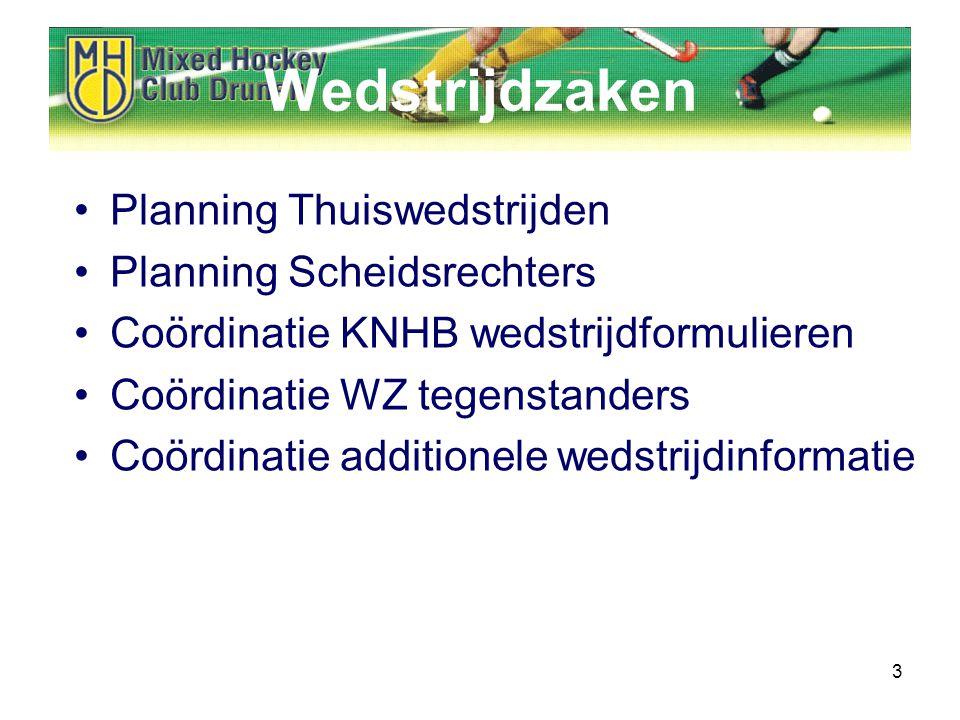3 Wedstrijdzaken Planning Thuiswedstrijden Planning Scheidsrechters Coördinatie KNHB wedstrijdformulieren Coördinatie WZ tegenstanders Coördinatie additionele wedstrijdinformatie