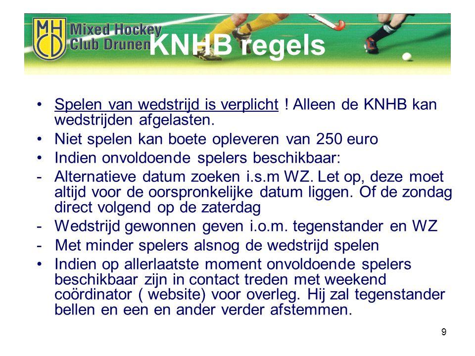 9 KNHB regels Spelen van wedstrijd is verplicht . Alleen de KNHB kan wedstrijden afgelasten.