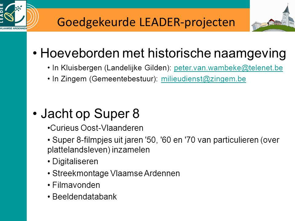 Goedgekeurde LEADER-projecten Hoeveborden met historische naamgeving In Kluisbergen (Landelijke Gilden): peter.van.wambeke@telenet.bepeter.van.wambeke@telenet.be In Zingem (Gemeentebestuur): milieudienst@zingem.bemilieudienst@zingem.be Jacht op Super 8 Curieus Oost-Vlaanderen Super 8-filmpjes uit jaren 50, 60 en 70 van particulieren (over plattelandsleven) inzamelen Digitaliseren Streekmontage Vlaamse Ardennen Filmavonden Beeldendatabank
