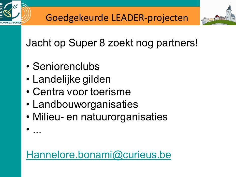 Goedgekeurde LEADER-projecten Jacht op Super 8 zoekt nog partners! Seniorenclubs Landelijke gilden Centra voor toerisme Landbouworganisaties Milieu- e
