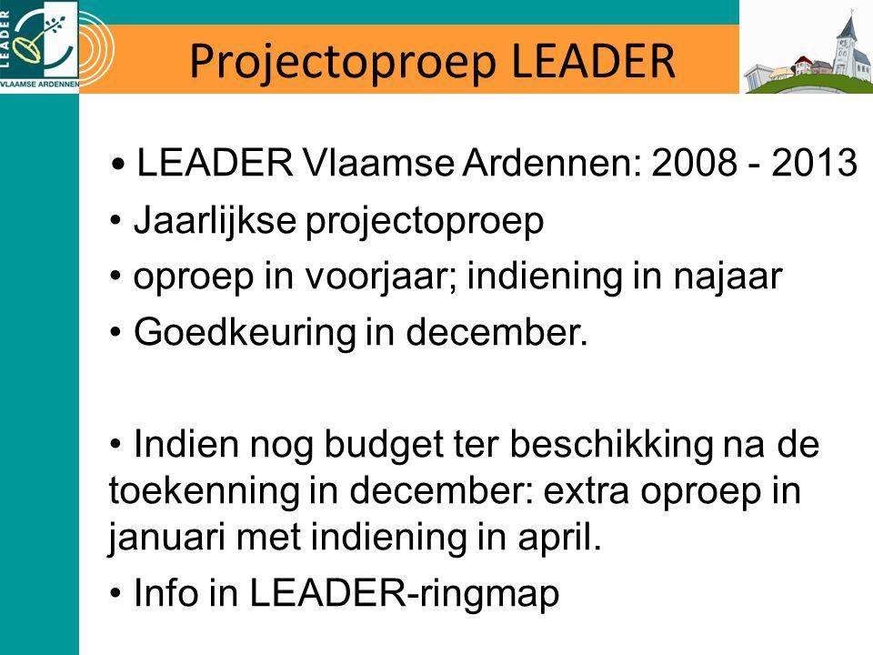 Projectoproep LEADER LEADER Vlaamse Ardennen: 2008 - 2013 Jaarlijkse projectoproep oproep in voorjaar; indiening in najaar Goedkeuring in december.