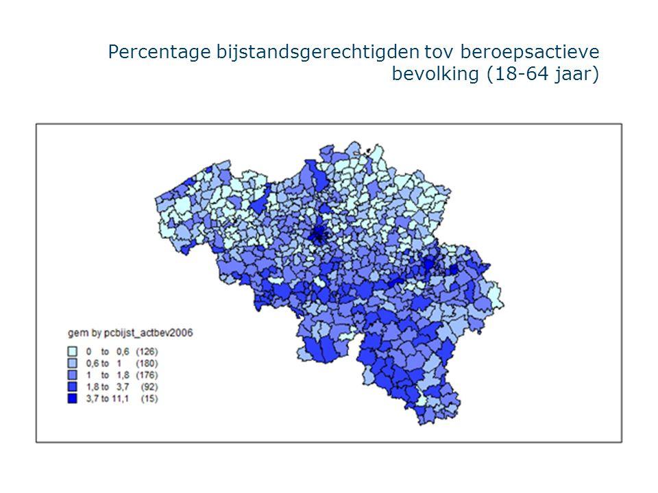 Percentage bijstandsgerechtigden tov beroepsactieve bevolking (18-64 jaar)