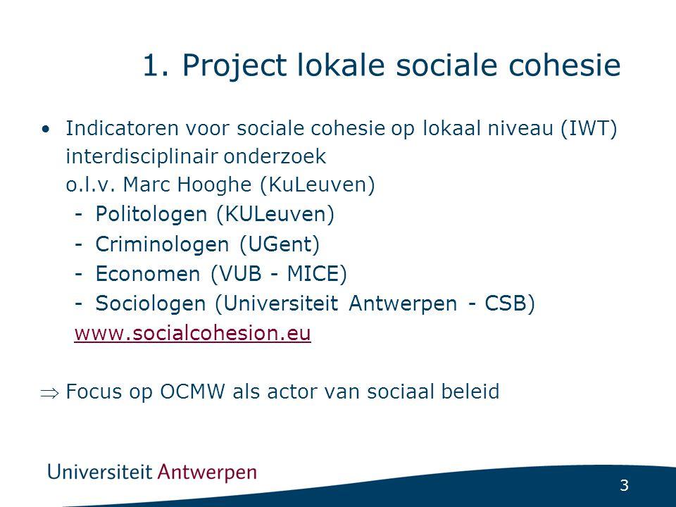 3 1. Project lokale sociale cohesie Indicatoren voor sociale cohesie op lokaal niveau (IWT) interdisciplinair onderzoek o.l.v. Marc Hooghe (KuLeuven)