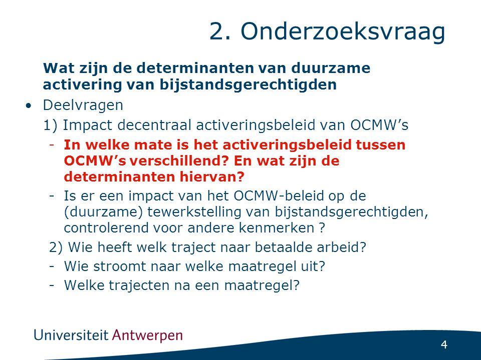 4 2. Onderzoeksvraag Wat zijn de determinanten van duurzame activering van bijstandsgerechtigden Deelvragen 1) Impact decentraal activeringsbeleid van