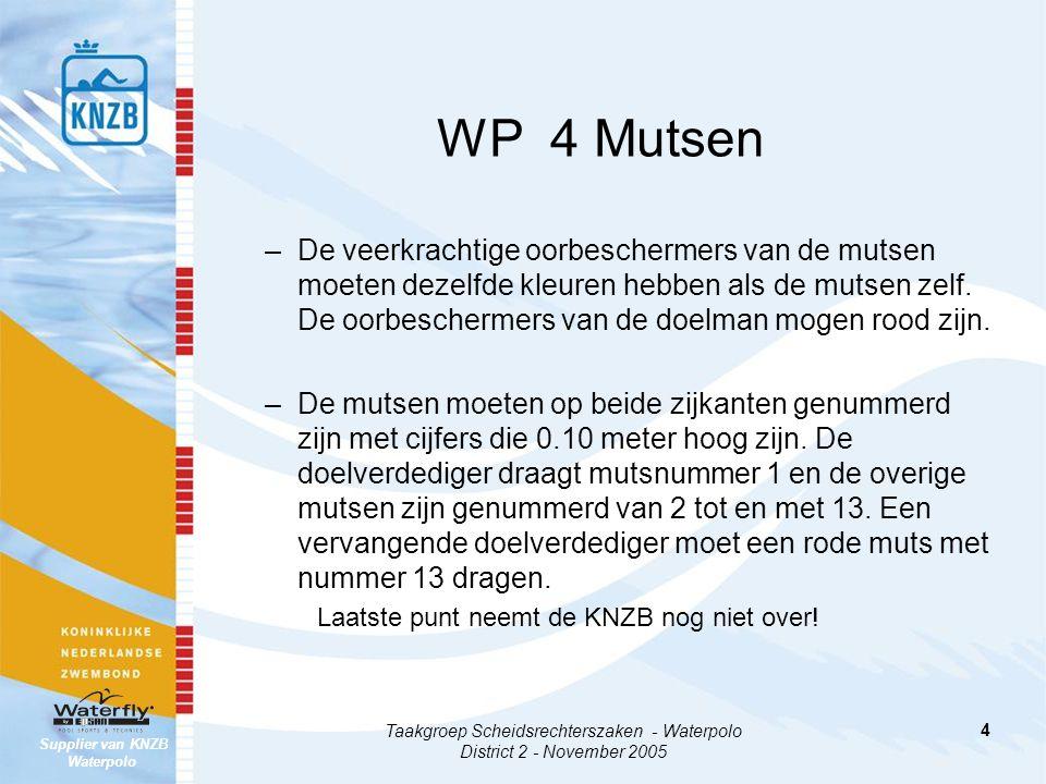 Supplier van KNZB Waterpolo Taakgroep Scheidsrechterszaken - Waterpolo District 2 - November 2005 15 WP 21 Uitsluitingsfouten –Bij UZV (21.11) mag een uitgesloten speler na 4 minuten (zuivere speeltijd) worden vervangen.