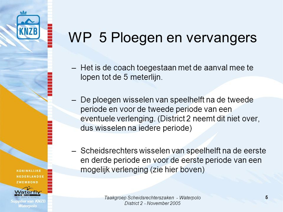 Supplier van KNZB Waterpolo Taakgroep Scheidsrechterszaken - Waterpolo District 2 - November 2005 5 WP 5 Ploegen en vervangers –Het is de coach toeges