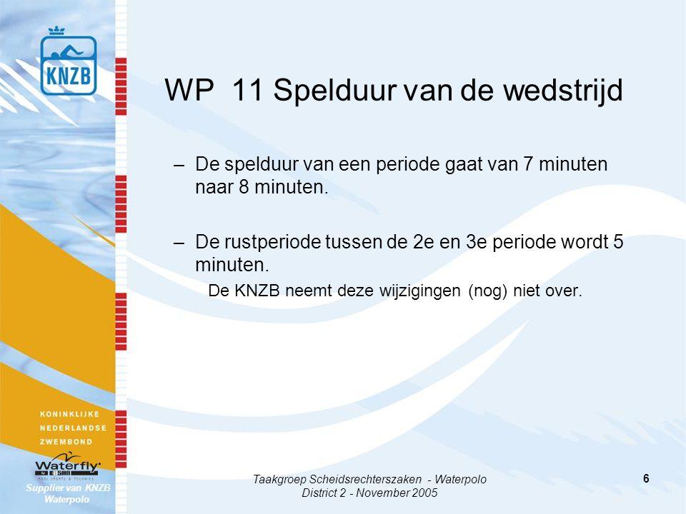 Supplier van KNZB Waterpolo Taakgroep Scheidsrechterszaken - Waterpolo District 2 - November 2005 6 WP 11 Spelduur van de wedstrijd –De spelduur van een periode gaat van 7 minuten naar 8 minuten.