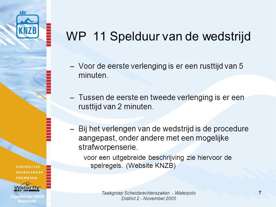 Supplier van KNZB Waterpolo Taakgroep Scheidsrechterszaken - Waterpolo District 2 - November 2005 8 WP 12 Time-out –Na de time-out wordt het spel hervat met een vrije worp op de middenlijn of daarachter.