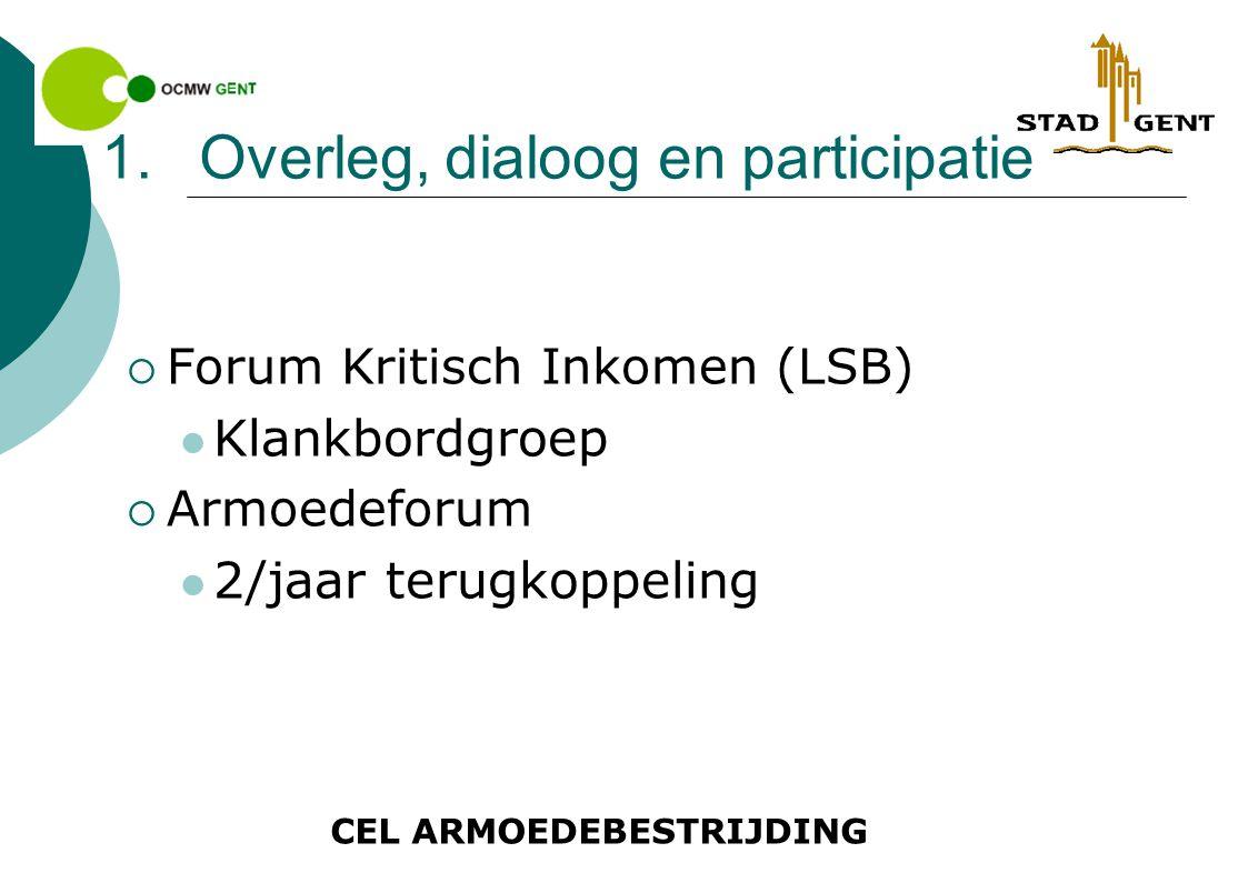 CEL ARMOEDEBESTRIJDING 1.Overleg, dialoog en participatie  Forum Kritisch Inkomen (LSB) Klankbordgroep  Armoedeforum 2/jaar terugkoppeling