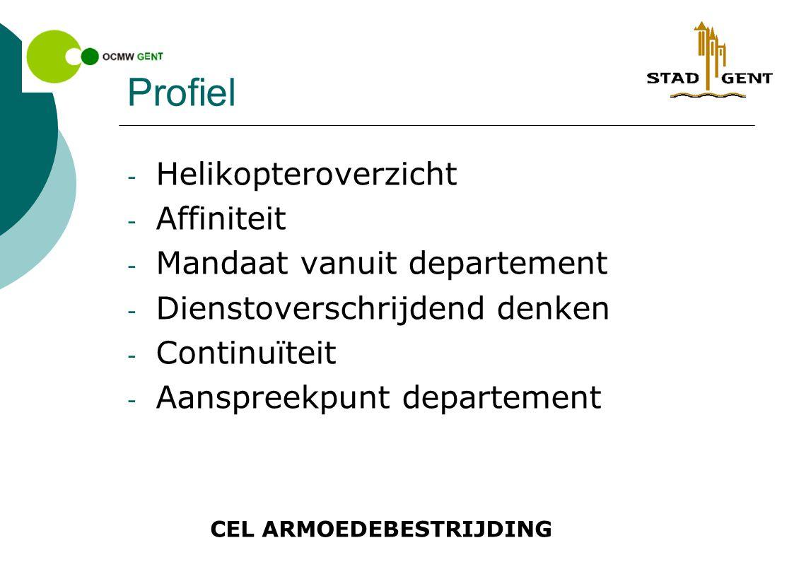 CEL ARMOEDEBESTRIJDING Profiel - Helikopteroverzicht - Affiniteit - Mandaat vanuit departement - Dienstoverschrijdend denken - Continuïteit - Aanspreekpunt departement