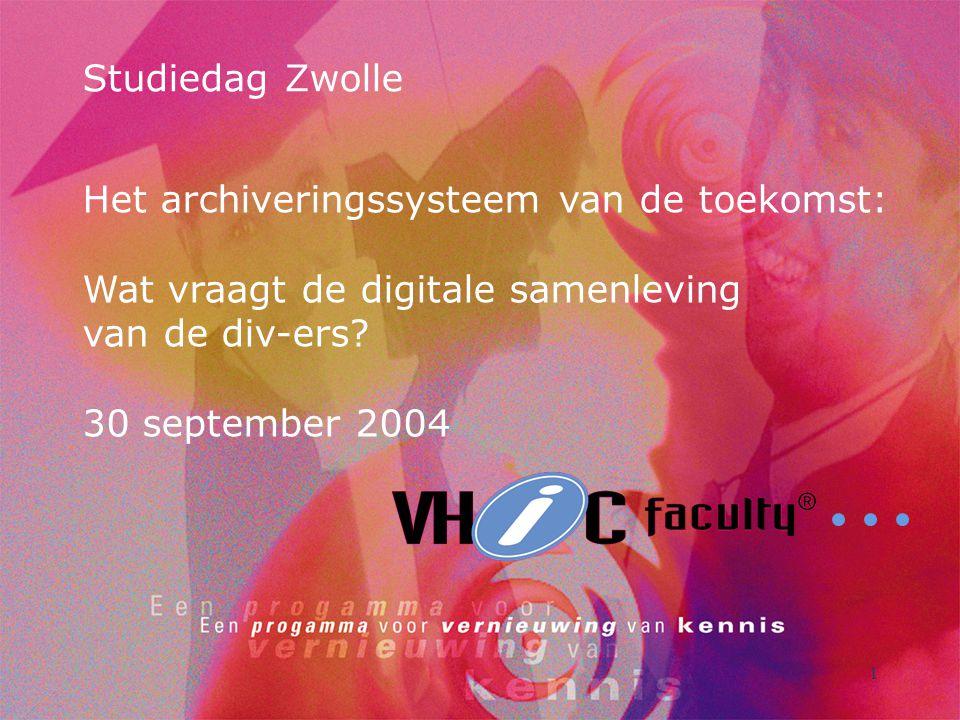 1 Studiedag Zwolle Het archiveringssysteem van de toekomst: Wat vraagt de digitale samenleving van de div-ers.