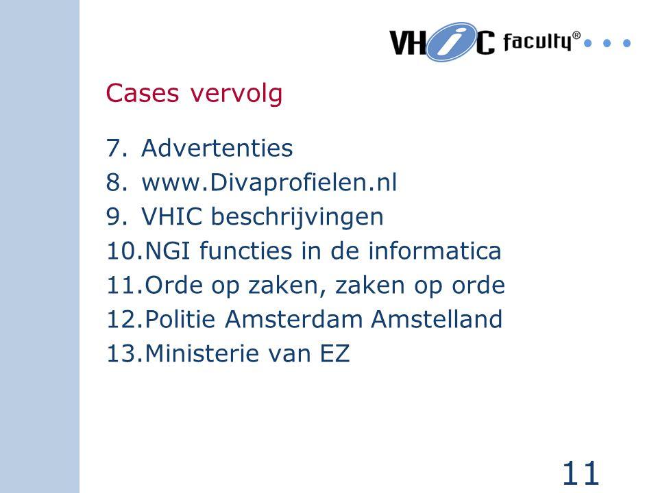 10 Div-cases 1.Stichting Centraal Woningbeheer Den- Haag 2.Gemeente Leiderdorp (tekstverwerking) 3.Vestia Rotterdam 4.VIDI Vrom 5.Competenties medewer