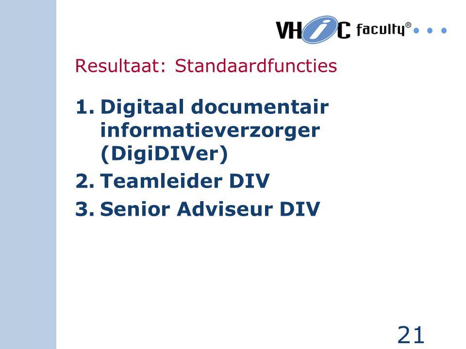 20 Registreren: begeleiden behandelaar + beheren tabellen Dossiervormen:inrichten en onder- houden werkprocessen Dossiers uitlenen:presenteren zoekres