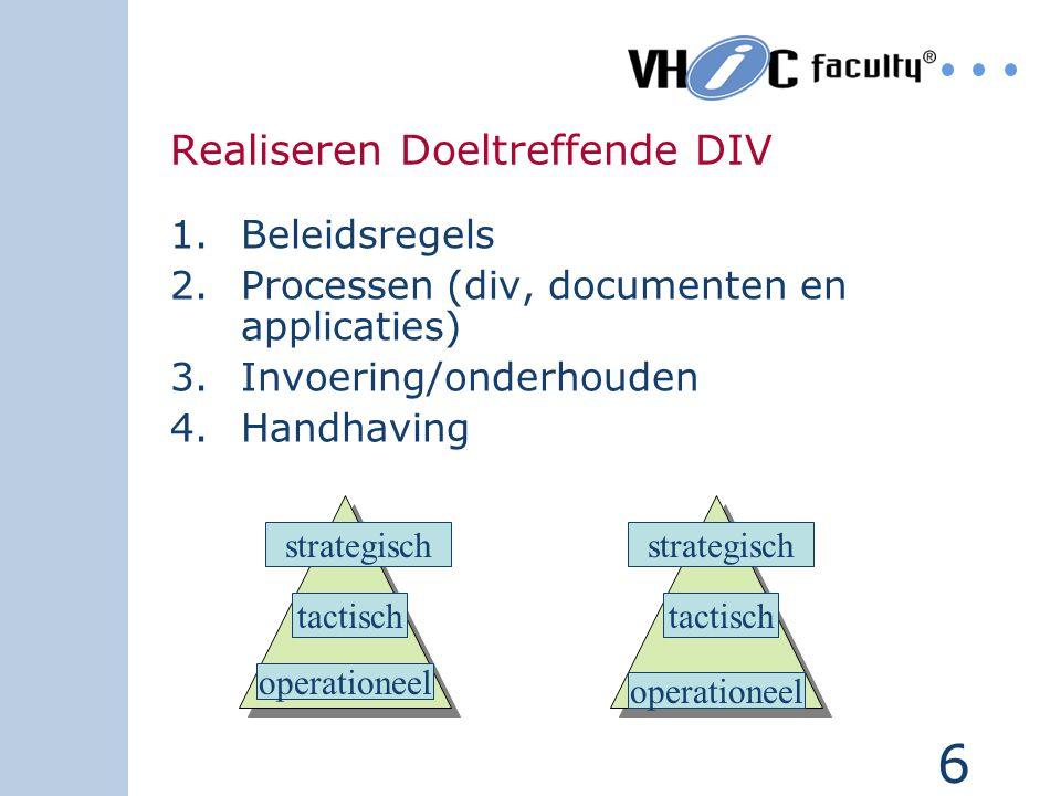 6 Realiseren Doeltreffende DIV 1.Beleidsregels 2.Processen (div, documenten en applicaties) 3.Invoering/onderhouden 4.Handhaving operationeel tactisch strategisch operationeel tactisch