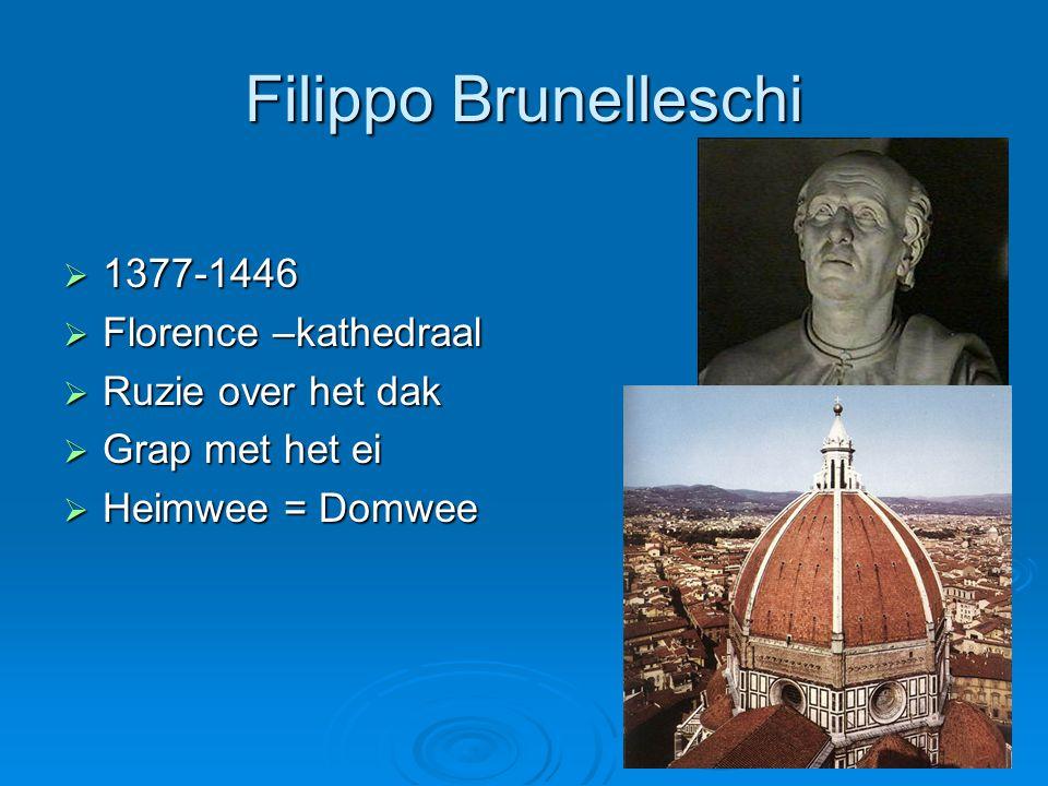Filippo Brunelleschi  1377-1446  Florence –kathedraal  Ruzie over het dak  Grap met het ei  Heimwee = Domwee