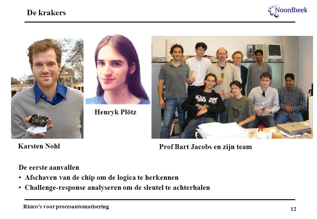 12 Risico's voor procesautomatisering De krakers Karsten Nohl Henryk Plötz Prof Bart Jacobs en zijn team De eerste aanvallen Afschaven van de chip om