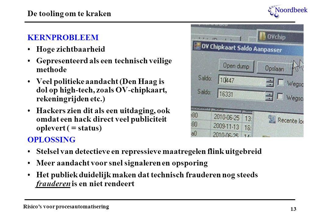 13 Risico's voor procesautomatisering De tooling om te kraken KERNPROBLEEM Hoge zichtbaarheid Gepresenteerd als een technisch veilige methode Veel pol