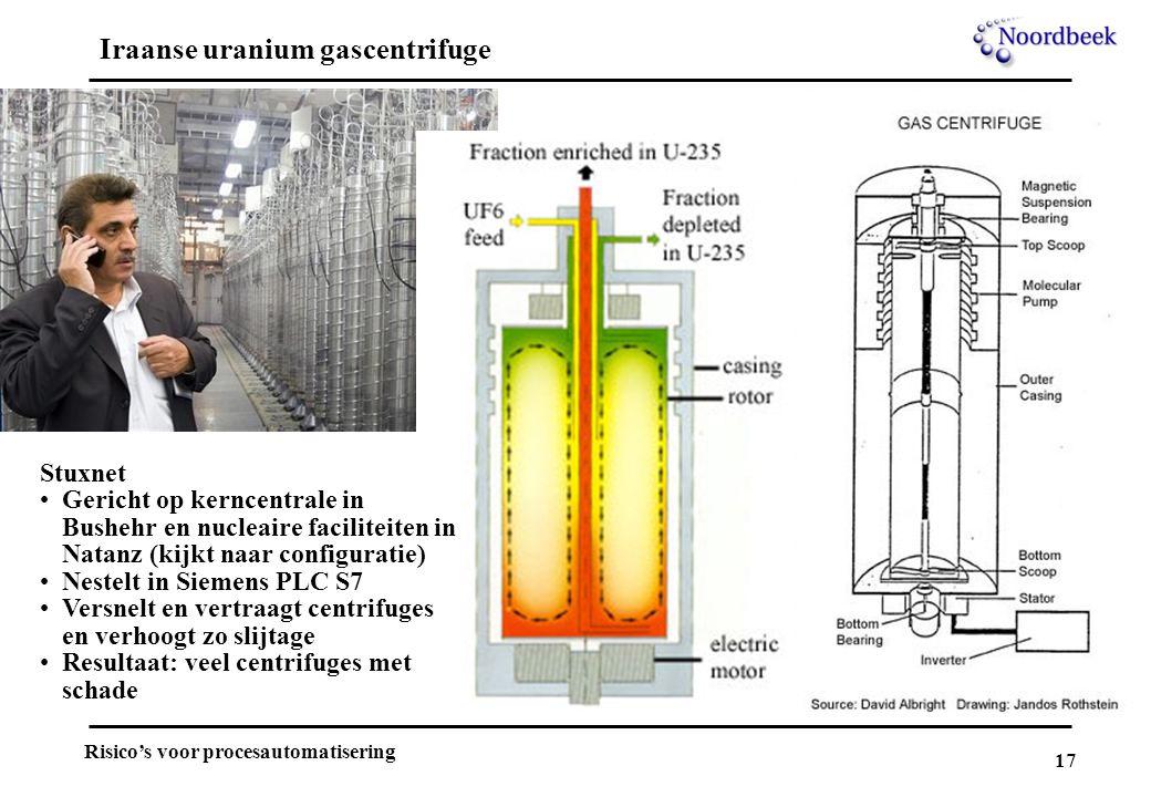 17 Risico's voor procesautomatisering Iraanse uranium gascentrifuge Stuxnet Gericht op kerncentrale in Bushehr en nucleaire faciliteiten in Natanz (ki