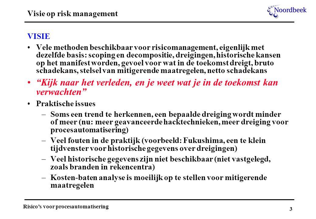 3 Risico's voor procesautomatisering Visie op risk management VISIE Vele methoden beschikbaar voor risicomanagement, eigenlijk met dezelfde basis: sco