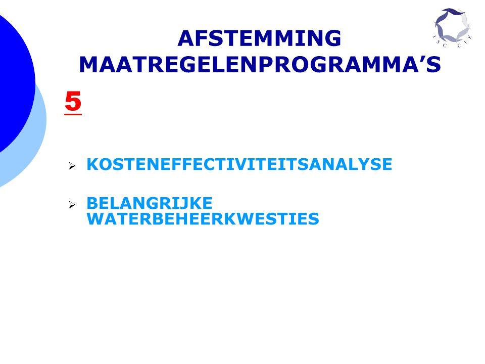 5 AFSTEMMING MAATREGELENPROGRAMMA'S  KOSTENEFFECTIVITEITSANALYSE  BELANGRIJKE WATERBEHEERKWESTIES