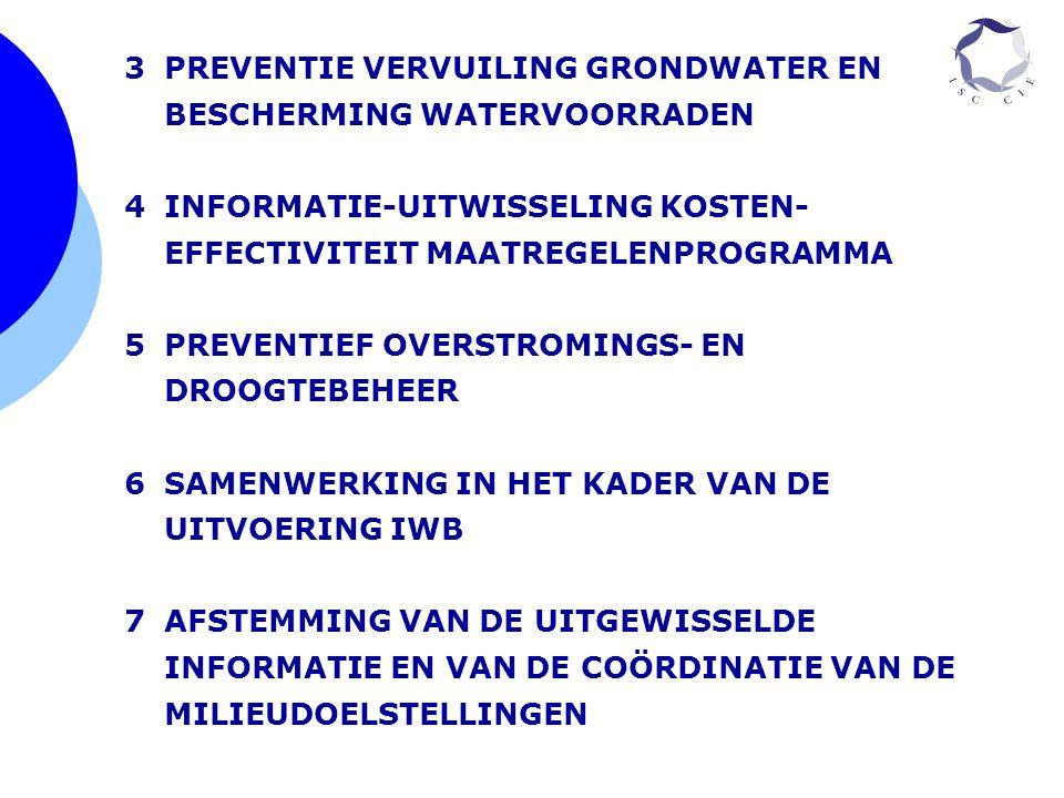 3PREVENTIE VERVUILING GRONDWATER EN BESCHERMING WATERVOORRADEN 4INFORMATIE-UITWISSELING KOSTEN- EFFECTIVITEIT MAATREGELENPROGRAMMA 5PREVENTIEF OVERSTR