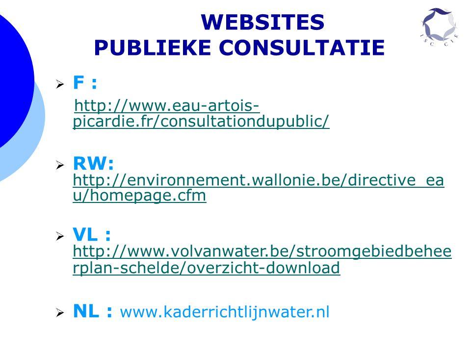 WEBSITES PUBLIEKE CONSULTATIE  F : http://www.eau-artois- picardie.fr/consultationdupublic/ http://www.eau-artois- picardie.fr/consultationdupublic/