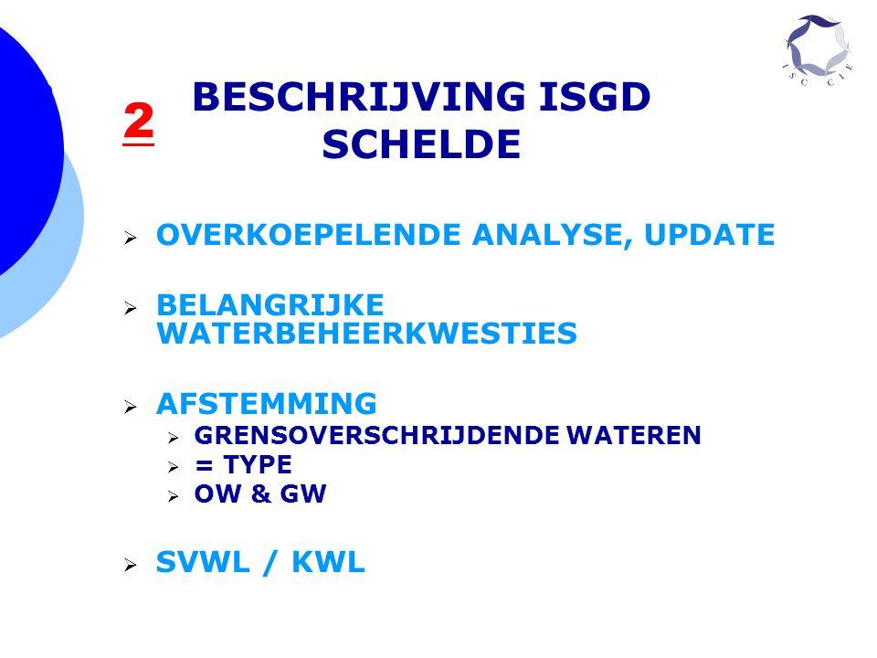 2 BESCHRIJVING ISGD SCHELDE  OVERKOEPELENDE ANALYSE, UPDATE  BELANGRIJKE WATERBEHEERKWESTIES  AFSTEMMING  GRENSOVERSCHRIJDENDE WATEREN  = TYPE 