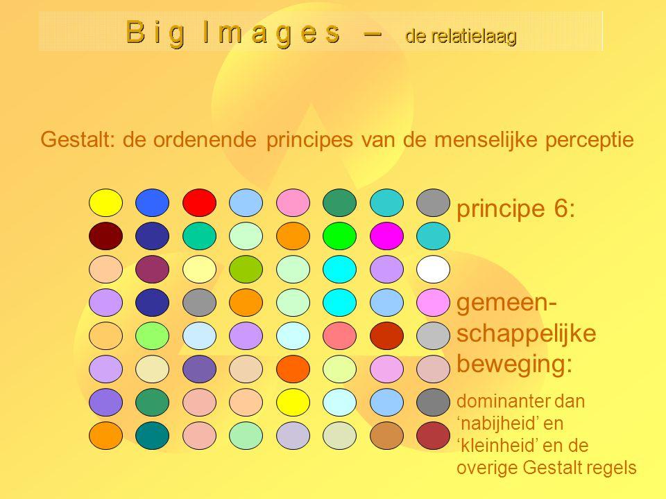 Gestalt: de ordenende principes van de menselijke perceptie principe 6: gemeen- schappelijke beweging: dominanter dan 'nabijheid' en 'kleinheid' en de