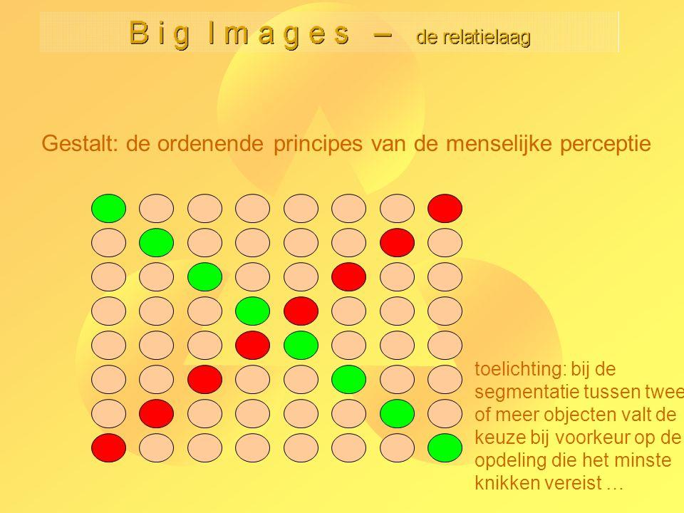 Gestalt: de ordenende principes van de menselijke perceptie toelichting: bij de segmentatie tussen twee of meer objecten valt de keuze bij voorkeur op