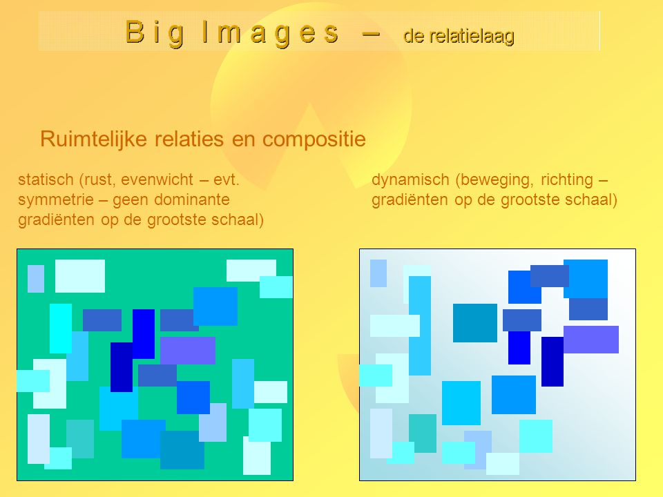 Ruimtelijke relaties en compositie statisch (rust, evenwicht – evt. symmetrie – geen dominante gradiënten op de grootste schaal) dynamisch (beweging,