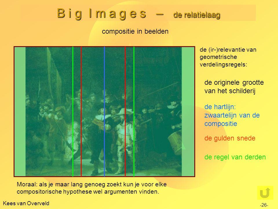 B i g I m a g e s – de relatielaag Kees van Overveld compositie in beelden de (ir-)relevantie van geometrische verdelingsregels: de originele grootte