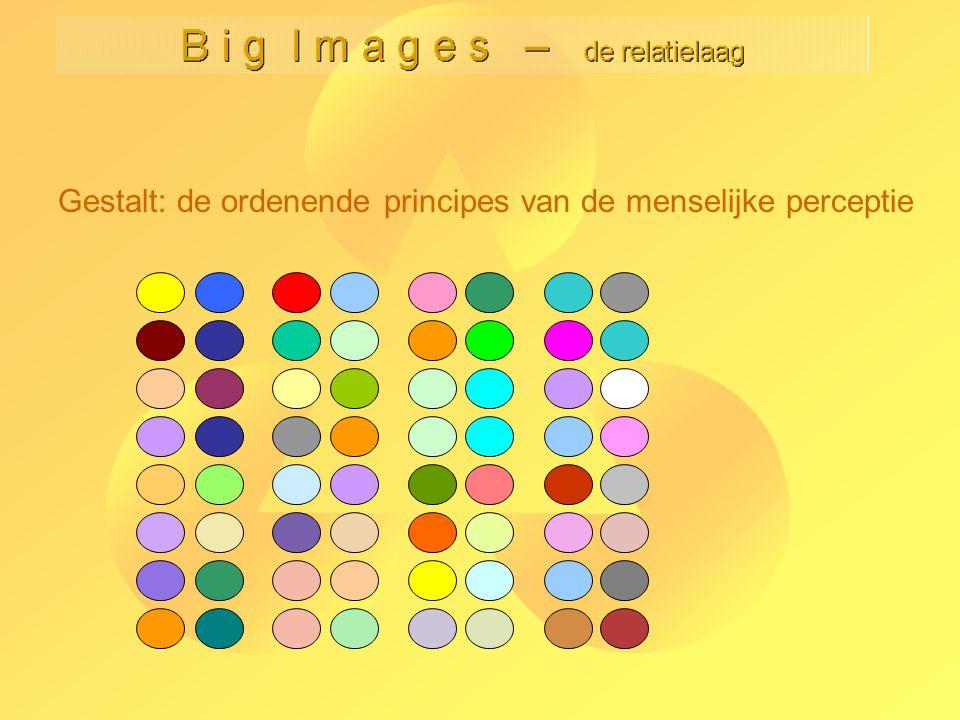 Gestalt: de ordenende principes van de menselijke perceptie principe 6: gemeen- schappelijke beweging: dominanter dan 'nabijheid' en 'kleinheid' en de overige Gestalt regels