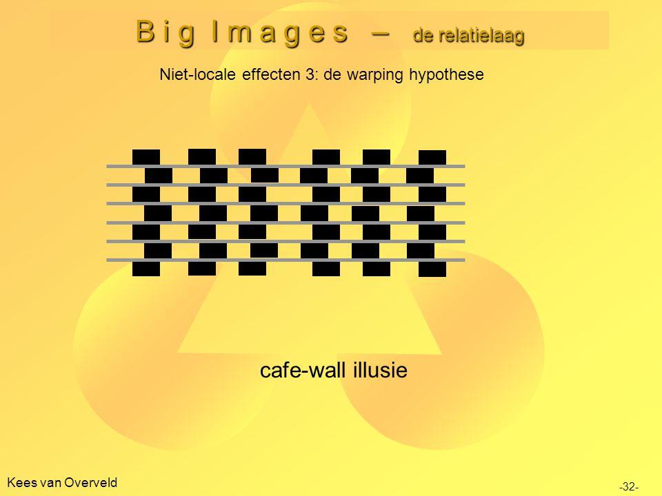 B i g I m a g e s – de relatielaag Kees van Overveld Niet-locale effecten 3: de warping hypothese -32- cafe-wall illusie
