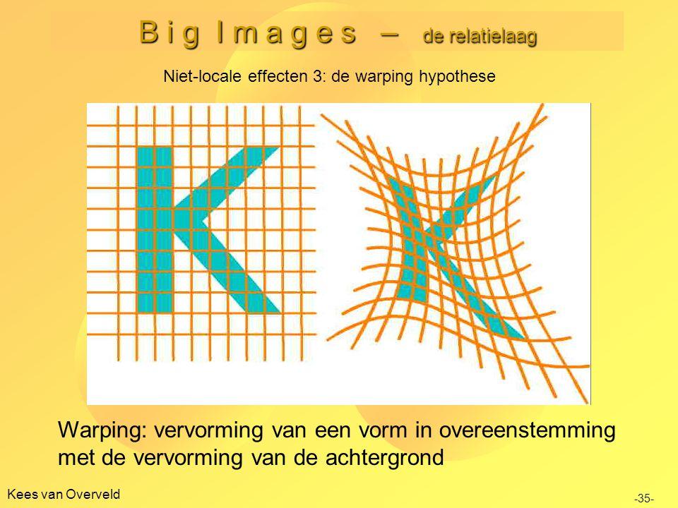 B i g I m a g e s – de relatielaag Kees van Overveld Niet-locale effecten 3: de warping hypothese -35- Warping: vervorming van een vorm in overeenstem