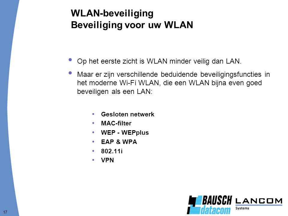 17 WLAN-beveiliging Beveiliging voor uw WLAN  Op het eerste zicht is WLAN minder veilig dan LAN.  Maar er zijn verschillende beduidende beveiligings