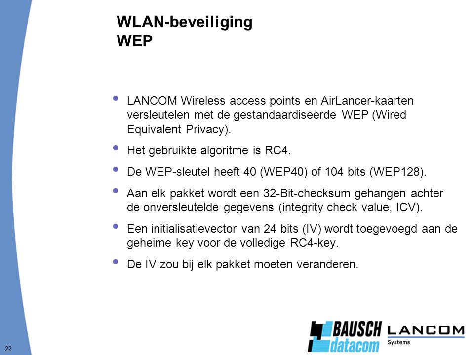 22 WLAN-beveiliging WEP  LANCOM Wireless access points en AirLancer-kaarten versleutelen met de gestandaardiseerde WEP (Wired Equivalent Privacy). 