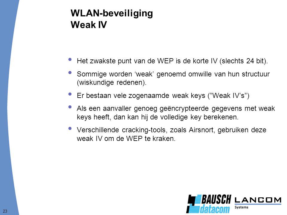 23 WLAN-beveiliging Weak IV  Het zwakste punt van de WEP is de korte IV (slechts 24 bit).  Sommige worden 'weak' genoemd omwille van hun structuur (