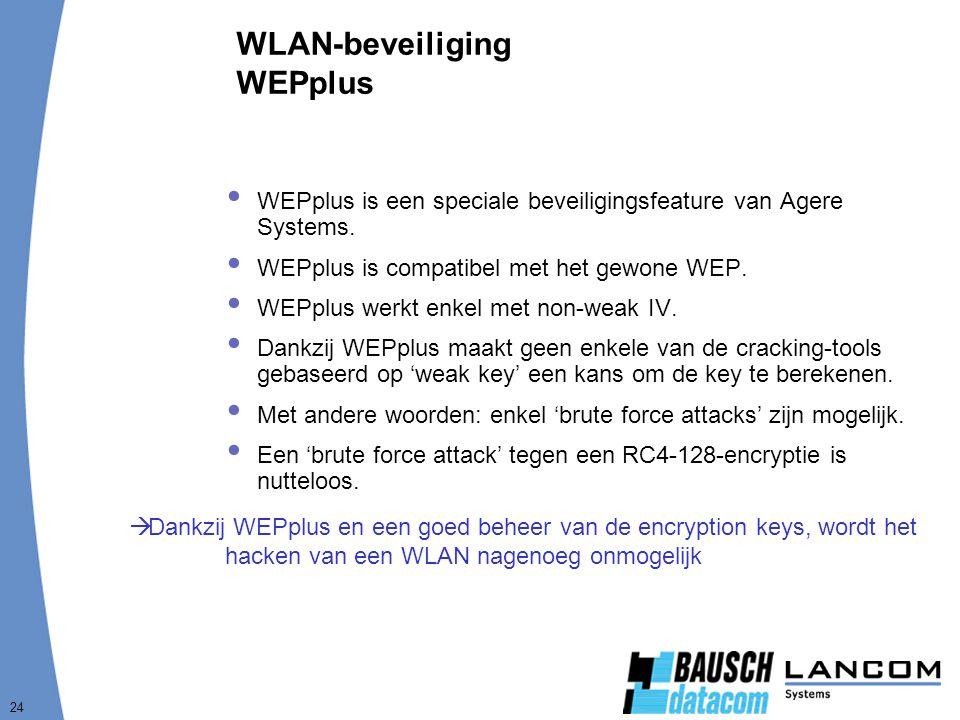 24 WLAN-beveiliging WEPplus  WEPplus is een speciale beveiligingsfeature van Agere Systems.  WEPplus is compatibel met het gewone WEP.  WEPplus wer