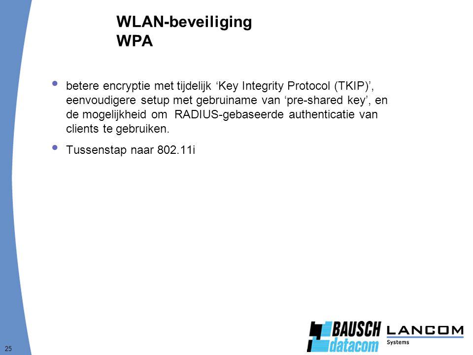 25 WLAN-beveiliging WPA  betere encryptie met tijdelijk 'Key Integrity Protocol (TKIP)', eenvoudigere setup met gebruiname van 'pre-shared key', en de mogelijkheid om RADIUS-gebaseerde authenticatie van clients te gebruiken.