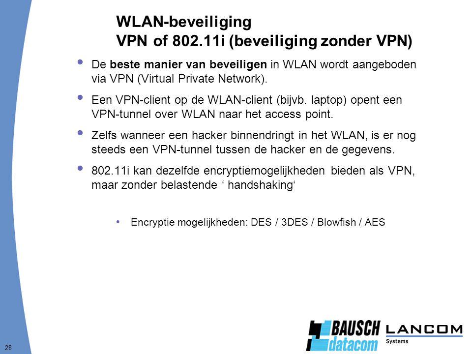 28 WLAN-beveiliging VPN of 802.11i (beveiliging zonder VPN)  De beste manier van beveiligen in WLAN wordt aangeboden via VPN (Virtual Private Network).