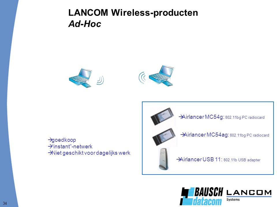 34 LANCOM Wireless-producten Ad-Hoc  goedkoop  instant -netwerk  Niet geschikt voor dagelijks werk  Airlancer MC54ag: 802.11bg PC radiocard  Airlancer MC54g: 802.11bg PC radiocard  Airlancer USB 11: 802.11b USB adapter