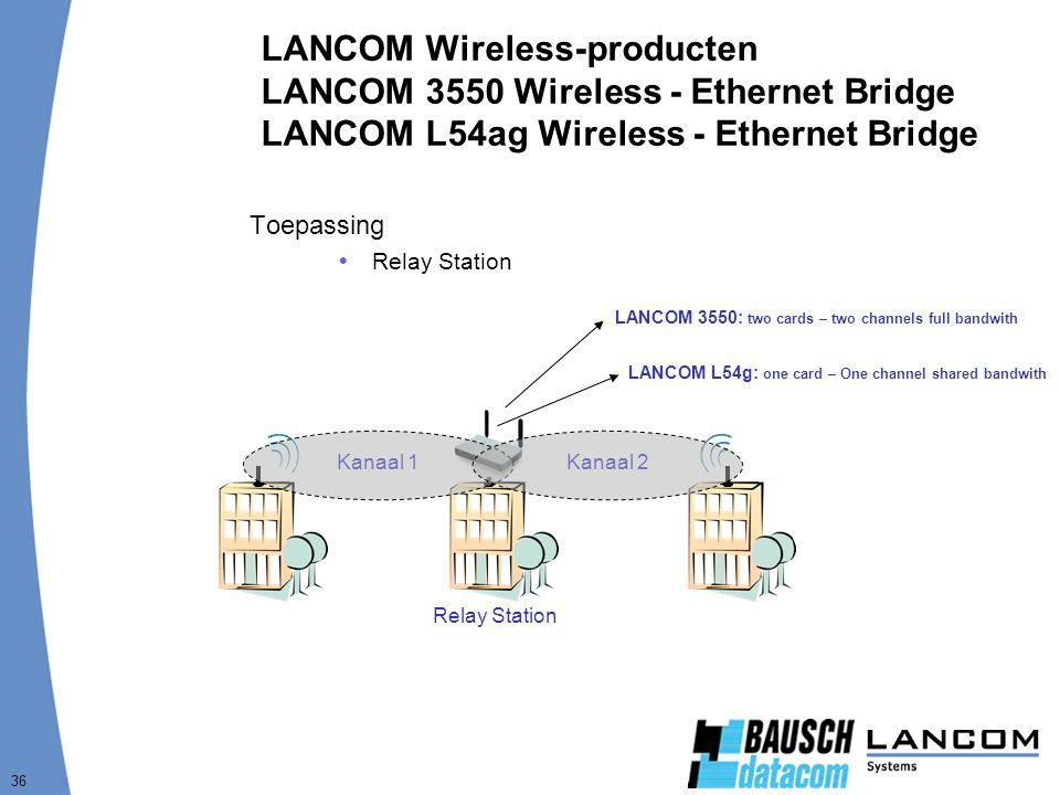 36 LANCOM Wireless-producten LANCOM 3550 Wireless - Ethernet Bridge LANCOM L54ag Wireless - Ethernet Bridge Toepassing  Relay Station Relay Station Kanaal 1Kanaal 2 LANCOM 3550: two cards – two channels full bandwith LANCOM L54g: one card – One channel shared bandwith