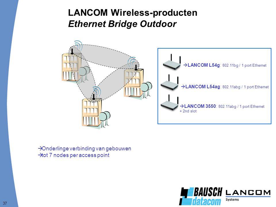 37 LANCOM Wireless-producten Ethernet Bridge Outdoor  Onderlinge verbinding van gebouwen  tot 7 nodes per access point  LANCOM L54g: 802.11bg / 1 port Ethernet  LANCOM L54ag: 802.11abg / 1 port Ethernet  LANCOM 3550: 802.11abg / 1 port Ethernet + 2nd slot