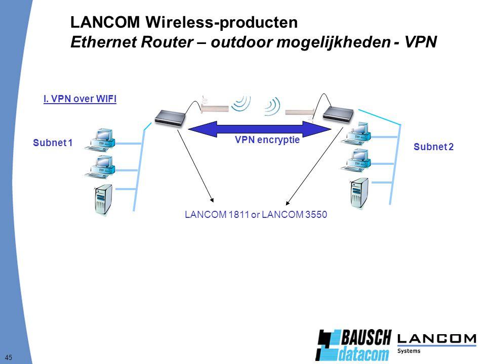 45 LANCOM Wireless-producten Ethernet Router – outdoor mogelijkheden - VPN Subnet 1 I. VPN over WIFI Subnet 2 VPN encryptie LANCOM 1811 or LANCOM 3550