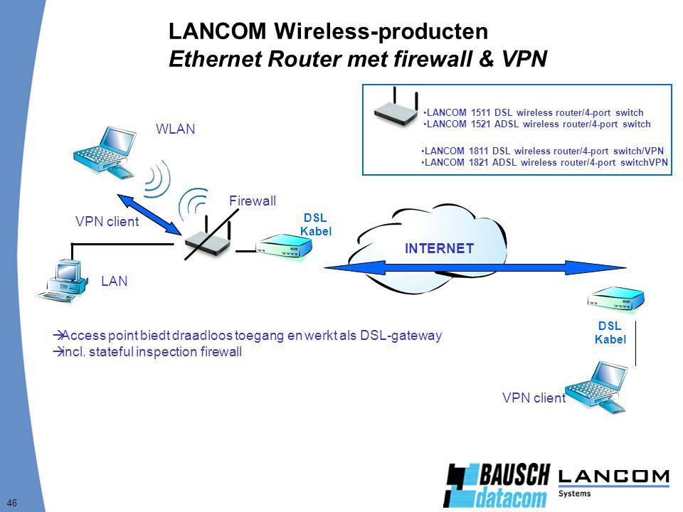 46 LANCOM Wireless-producten Ethernet Router met firewall & VPN DSL Kabel  Access point biedt draadloos toegang en werkt als DSL-gateway  incl. stat