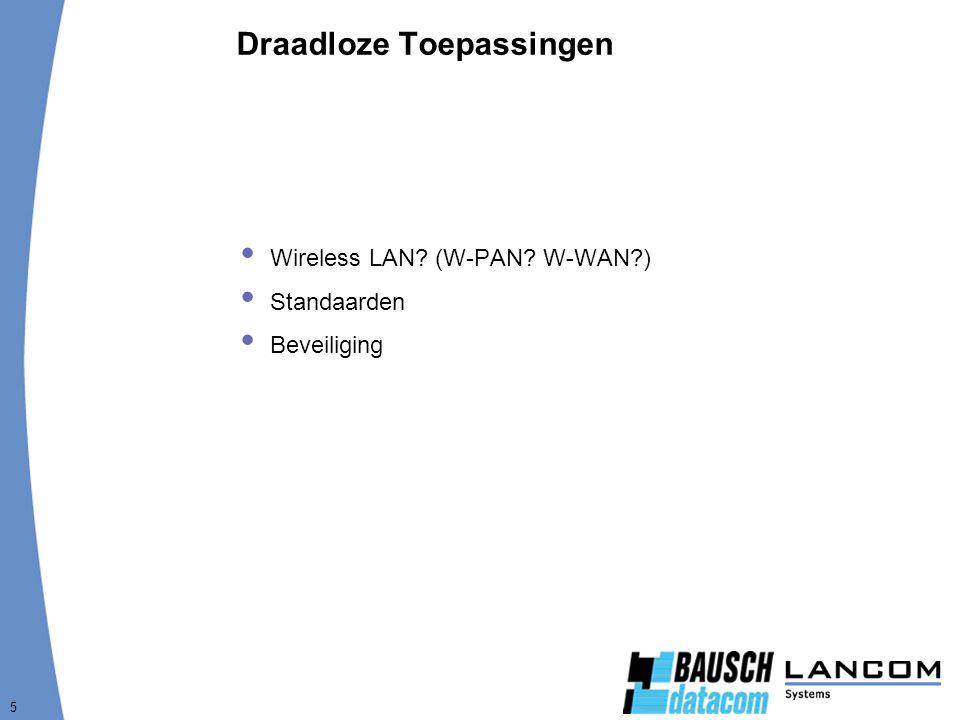 5 Draadloze Toepassingen  Wireless LAN? (W-PAN? W-WAN?)  Standaarden  Beveiliging