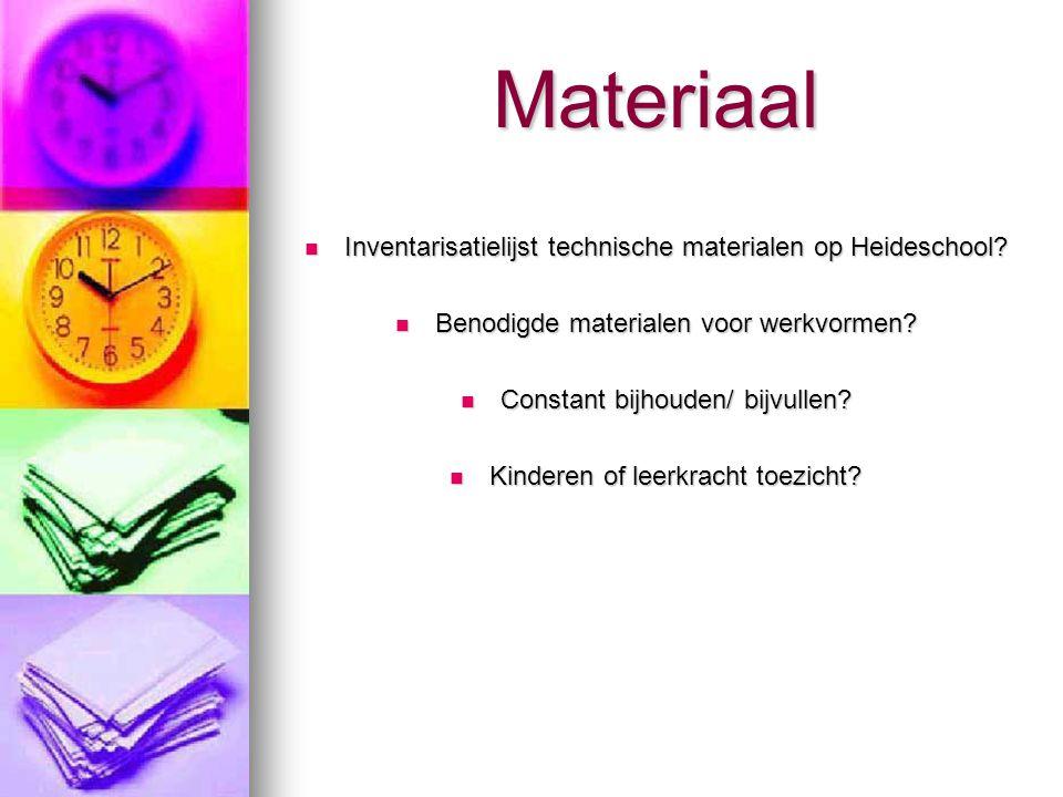 Materiaal Inventarisatielijst technische materialen op Heideschool.